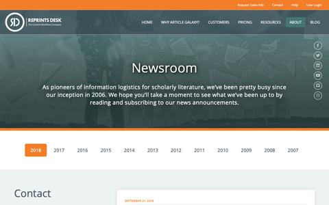 Screenshot of Press Page reprintsdesk.com - Reprints Desk |  Newsroom - captured Oct. 18, 2018