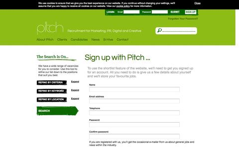 Screenshot of Signup Page pitchconsultants.co.uk - Shortlist - Pitch Consultants - captured Sept. 26, 2014