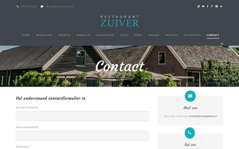 Screenshot of Contact Page zuivergastvrij.nl - Contact - Restaurant Zuiver - captured Nov. 30, 2016