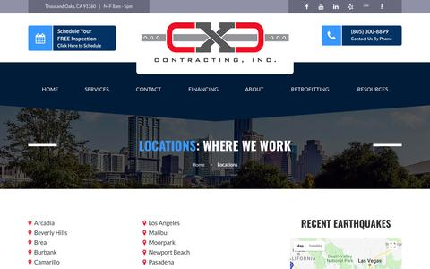 Screenshot of Locations Page cxccontracting.com - Locations | CXC Contracting - captured July 15, 2018