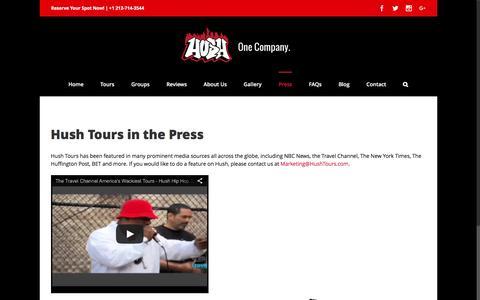Screenshot of Press Page hushtours.com - Press • Hush Hip Hop Tours - captured July 18, 2016