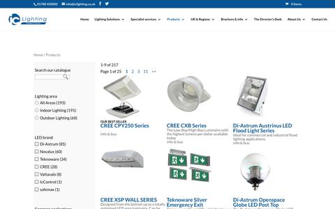 Screenshot of Products Page iclighting.co.uk - Widest range of LED lighting products - icLighting the UK specialists - captured Oct. 16, 2017