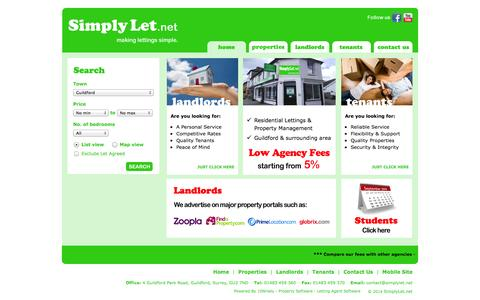 Screenshot of Home Page simplylet.net - Guildford Letting Agents : SimplyLet.net - captured Oct. 4, 2014