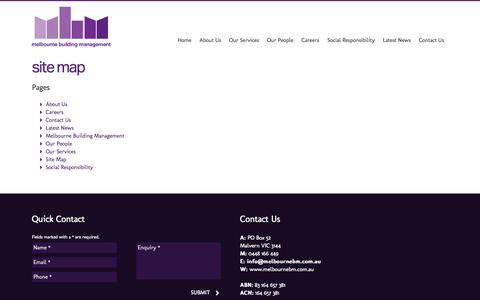 Screenshot of Site Map Page melbournebm.com.au - Site Map | Melbourne Building Management - captured Oct. 27, 2014