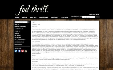 Screenshot of Terms Page fedthrill.com - Legal — Fed Thrill Sunglasses - captured Sept. 30, 2014