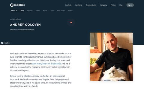 Screenshot of Team Page mapbox.com - Andrey Golovin   Mapbox - captured Feb. 19, 2019