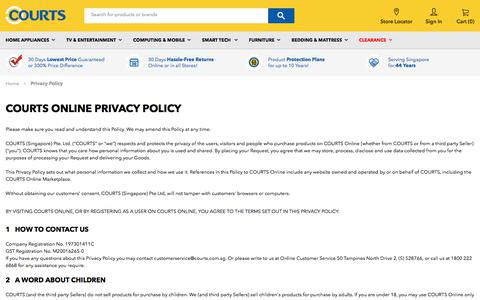Screenshot of Privacy Page courts.com.sg - Privacy Policy - captured Sept. 23, 2018
