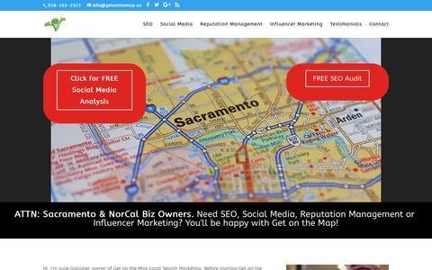 Screenshot of Home Page getonthemap.us - Sacramento SEO, Social Media & Reputation Management | Get on the Map | Get On The Map - Sacramento SEO Search Engine Optimization & Social Media - captured Sept. 28, 2018