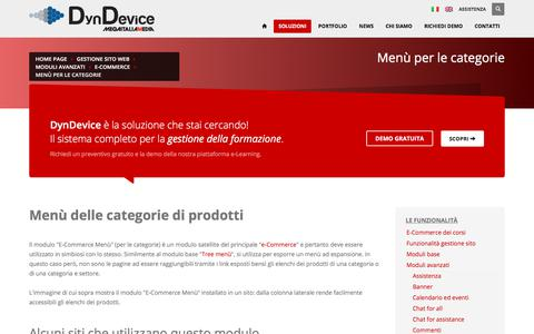 Screenshot of Menu Page dyndevice.com - Menù delle categorie di prodotti - captured Nov. 29, 2017