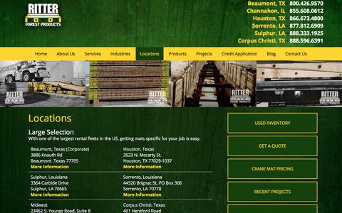Screenshot of Locations Page ritterforest.com - Hardwood Timber Mat Locations | Mat Rentals & Sales | Ritter Forest Products - captured Nov. 16, 2017