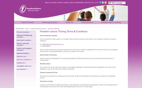 Screenshot of Terms Page freedom-leisure.co.uk - Freedom Leisure Training Terms and Conditions - captured Aug. 4, 2016