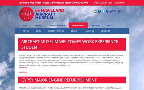 Screenshot of Press Page dehavillandmuseum.co.uk - News – de Havilland Aircraft Museum - captured Oct. 9, 2018