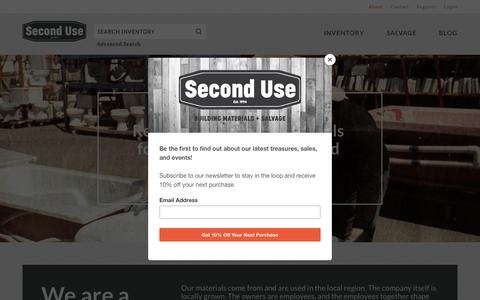 Screenshot of About Page seconduse.com - About | Second Use - captured Aug. 9, 2019
