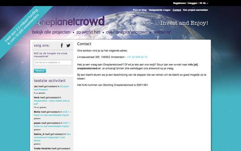 Screenshot of Contact Page oneplanetcrowd.nl - oneplanetcrowd - Crowdfunding voor Duurzame Producten - Contact - captured Sept. 23, 2014