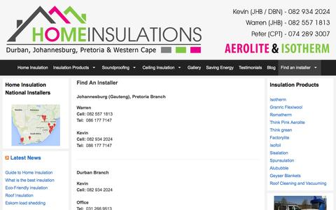 Screenshot of Contact Page homeinsulations.co.za - Find an installer | Durban, Johannesburg, Pretoria, Cape Town - captured Dec. 12, 2015