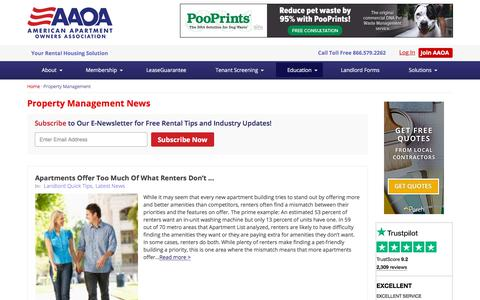 Screenshot of Press Page american-apartment-owners-association.org - Property Management News   Landlord Resources & Tips AAOA - captured July 29, 2018
