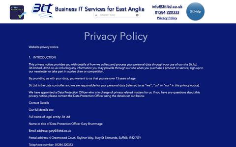 Screenshot of Privacy Page 3itltd.co.uk - Privacy Policy   3it Ltd - captured Sept. 21, 2018