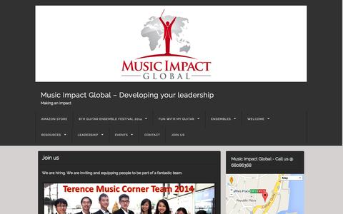 Screenshot of Jobs Page terencechoo.com - Join us | Music Impact Global - Developing your leadership - captured Oct. 6, 2014