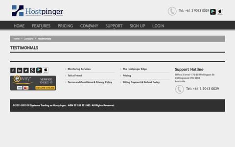 Screenshot of Testimonials Page hostpinger.com - Testimonials @ Hostpinger - captured Dec. 12, 2015