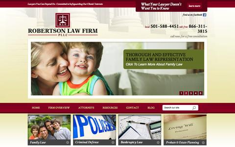 Screenshot of Home Page robertson-law-firm.com - Little Rock Divorce Attorney | Benton Child Custody Lawyer | Arkansas Fathers' Right Attorneys - captured Oct. 6, 2014