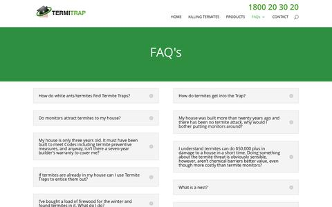Screenshot of FAQ Page termitetrap.com.au - FAQ - Termite Trap - captured Feb. 14, 2016