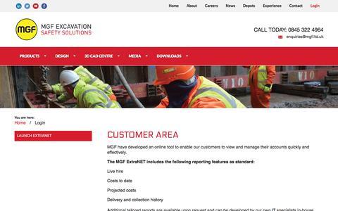 Screenshot of Login Page mgf.ltd.uk - Login | MGF Excavation Safety Solutions - captured Nov. 18, 2016