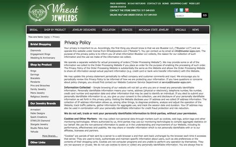 Screenshot of Privacy Page wheatjewelers.com - Privacy - Wheat Diamond Jewelers - captured Oct. 26, 2014