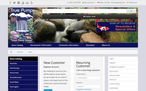 Screenshot of Login Page truepump.com - Account Login - captured Nov. 14, 2017