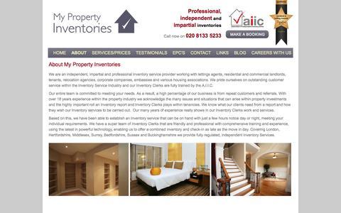 Screenshot of About Page mypropertyinventories.co.uk - North London Inventories | London Inventories | Property Inventories - captured Oct. 7, 2014