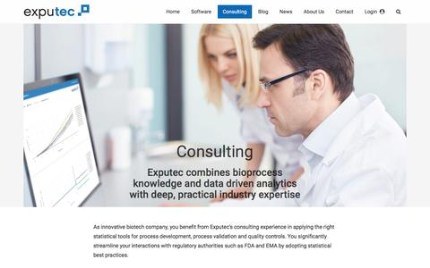 Screenshot of Services Page exputec.com - Consulting · EXPUTEC - captured July 23, 2018