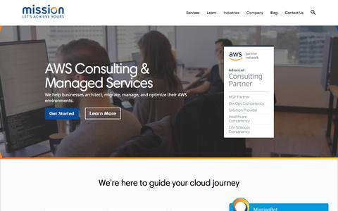 Screenshot of Home Page missioncloud.com - Top AWS Managed Cloud Service Provider | Mission - captured Aug. 19, 2019