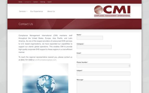 Screenshot of Contact Page complianceplace.com - Compliance Management International - captured Nov. 10, 2016