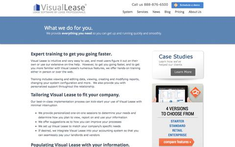 Screenshot of Services Page visuallease.com - Getting Started | Visual Lease - captured Oct. 29, 2014