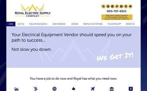 Screenshot of Home Page royalelectric.com - Royal Electric Supply Company - captured Jan. 26, 2015