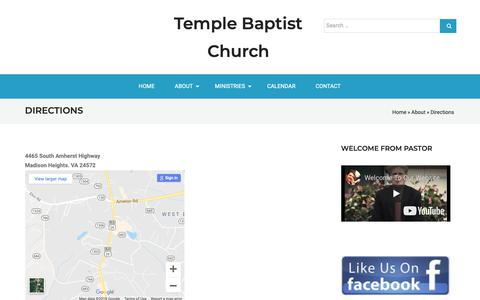 Screenshot of Maps & Directions Page ipower.com - Directions – Temple Baptist Church - captured Dec. 3, 2018