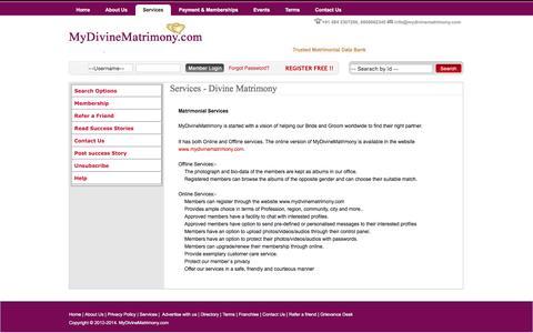 Screenshot of Services Page mydivinematrimony.com - Trusted Matrimonial Data Bank - captured Feb. 15, 2016