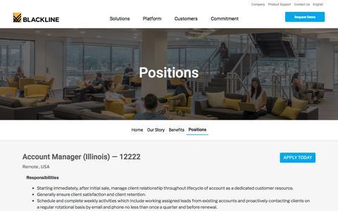 Screenshot of Jobs Page blackline.com - Account Manager (Illinois)| Remote, United States, United States - captured Nov. 29, 2019
