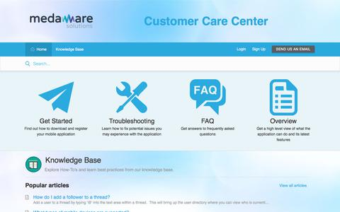 Screenshot of Support Page medawaresolutions.com - Support : MedAware Solutions - captured Sept. 20, 2018