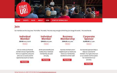 Screenshot of Signup Page startuptasmania.com - Become a member   Startup Tasmania - captured Nov. 5, 2014