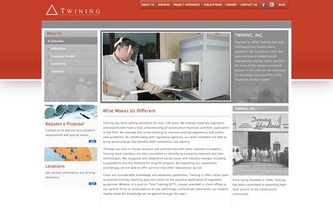 Screenshot of About Page twininginc.com - About Us | Twining, Inc. - captured Sept. 30, 2014