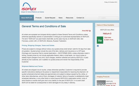 Screenshot of Terms Page isoflex.com - Terms & Conditions - captured Oct. 4, 2014