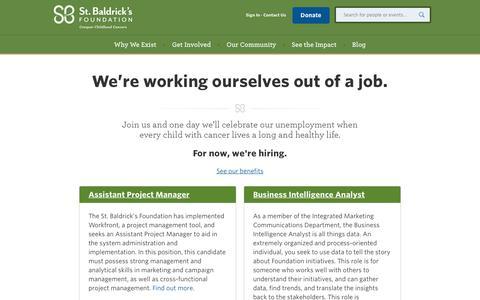 Screenshot of Jobs Page stbaldricks.org - St. Baldrick's Job Opportunities   Work for St. Baldrick's - captured June 22, 2017