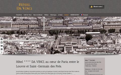 Screenshot of Contact Page hoteldavinciparis.com - Hôtel **** Da Vinci, 25 rue des Saints Pères, 75006 Paris, France – SITE OFFICIEL   –  Contact - captured Sept. 23, 2014