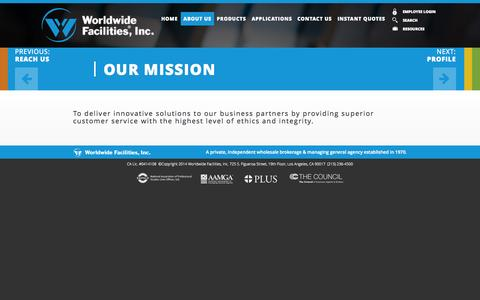 Screenshot of About Page wwfi.com - Our Mission «  WWFI | Worldwide Facilities Inc - captured Oct. 26, 2014