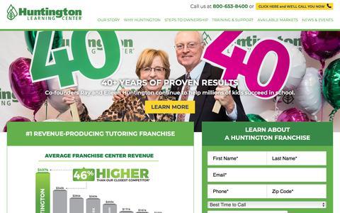 Screenshot of Home Page huntingtonfranchise.com - Top Tutoring & Test Prep Business Franchise | Huntington Learning Center - captured Jan. 26, 2018
