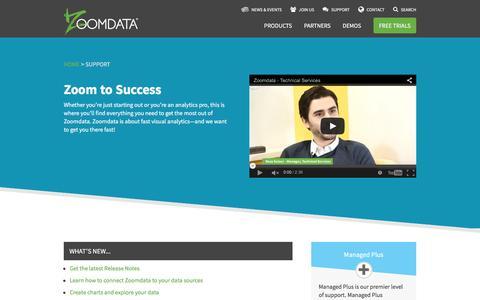 Screenshot of Support Page zoomdata.com - Support   Zoomdata - captured Feb. 14, 2016