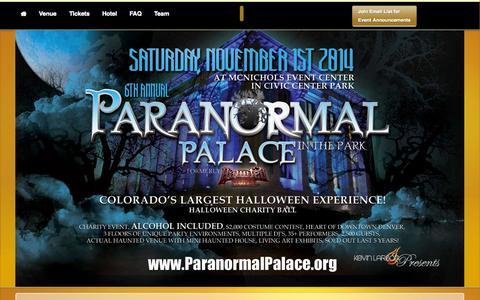 Screenshot of Home Page paranormalpalace.org - Halloween Denver 2014 | Denver's Premier Halloween Party –  KLP - captured Jan. 28, 2015