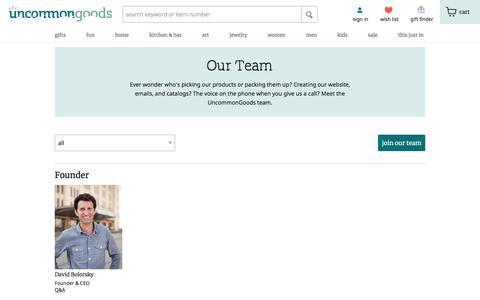Screenshot of Team Page uncommongoods.com - Staff Bios | UncommonGoods - captured Dec. 26, 2019