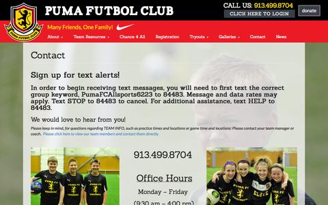 Screenshot of Contact Page pumafc.org - Contact - Puma FC - captured Sept. 30, 2014