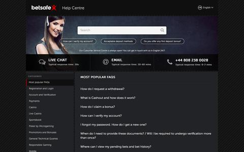 Screenshot of Support Page betsafe.com - Help Centre | Betsafe - captured July 15, 2017